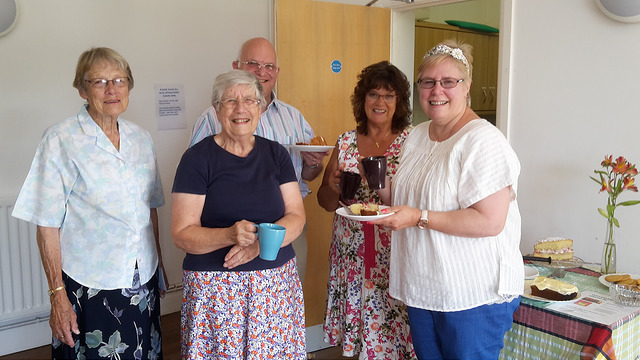 parishioners enjoying cakes and coffee