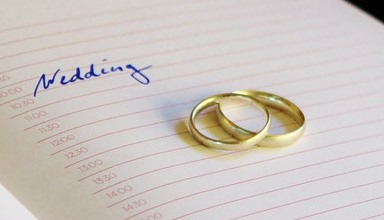 wedding rings on a diary