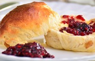 scone with raspberry jam