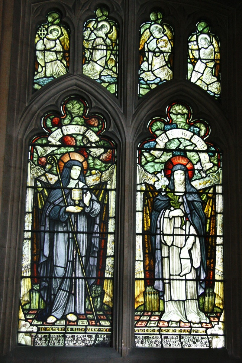 Second window in Westbourne Church aisle featuring saints