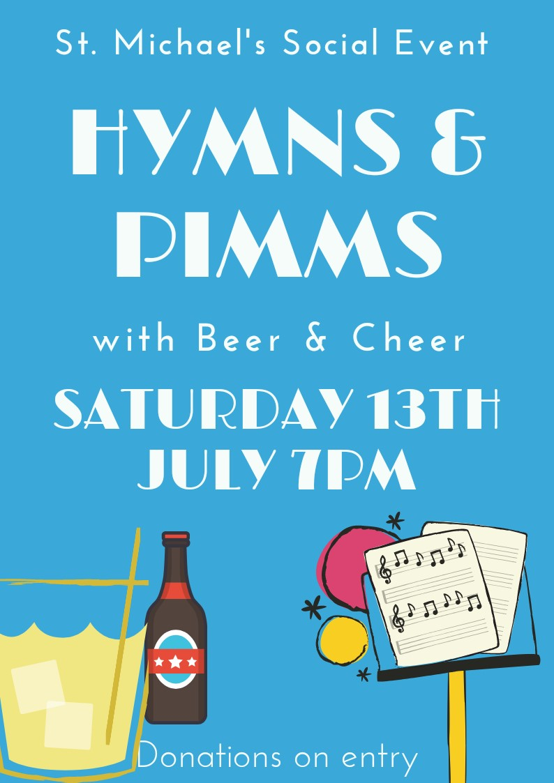 Hymns and Pimms poster showing music sheets and drinks