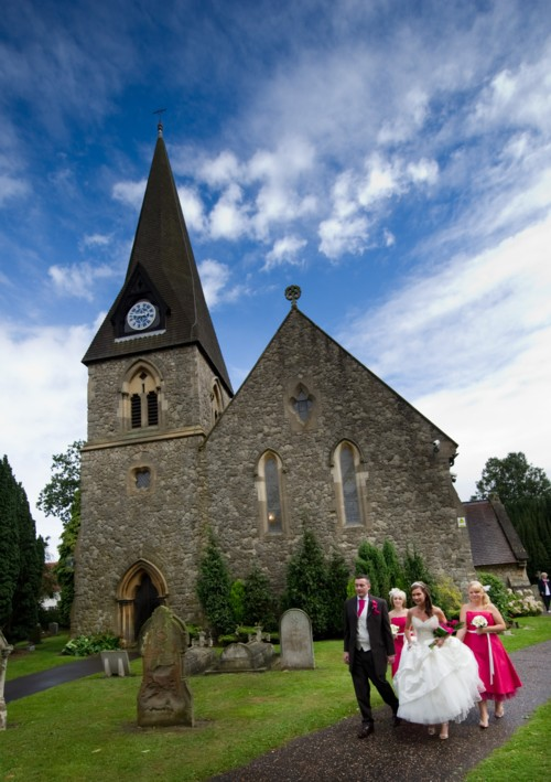Bridal party outside the church