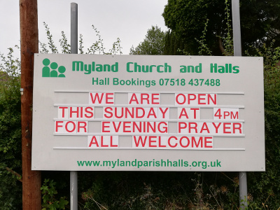 Noticeboard announcing evening prayer on Sunday 4pm