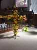 Easter Cross 2016- decorated in Church replacing the Lent symbols with flowers on Easter Sunday
