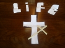 Palm Sunday Service - an origami cross leading to LIFE