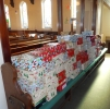 Shoe boxes stacked and awaiting collection on 10th November