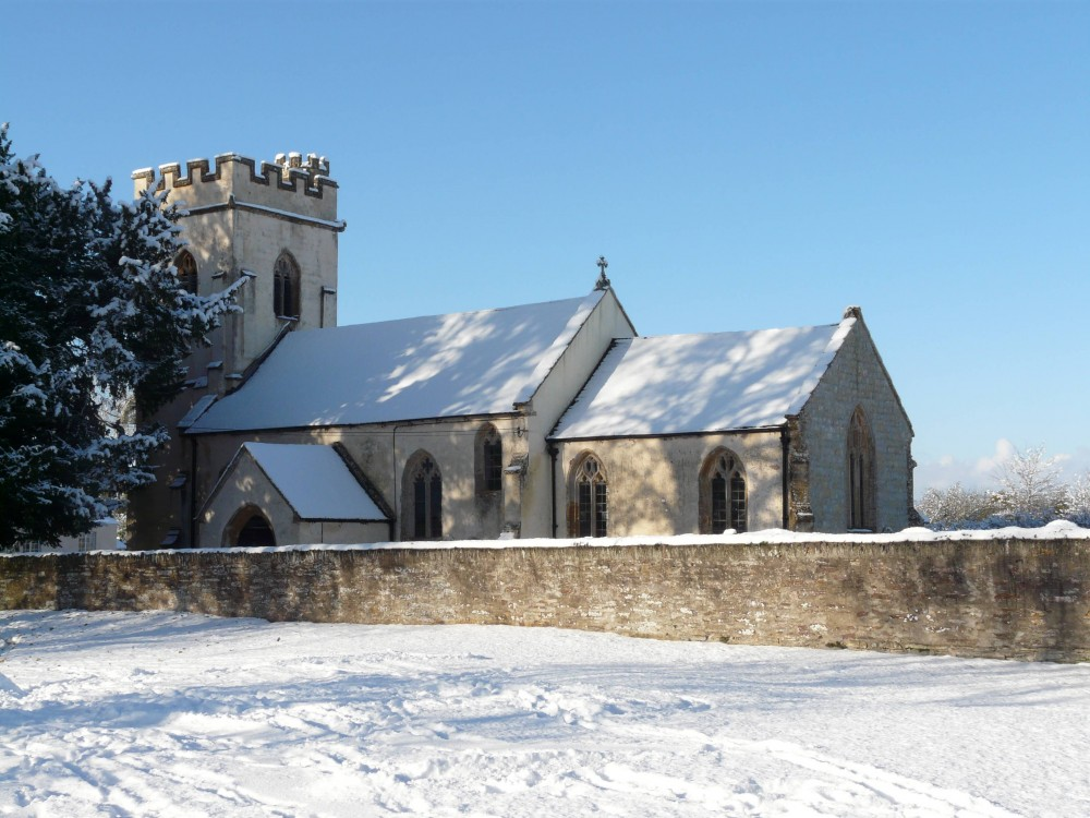 Thornfalcon Church in the snow