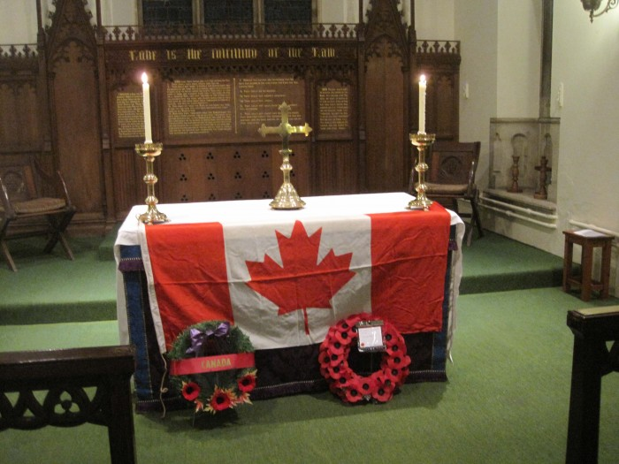 Altar with Canadian Flag and Wreaths