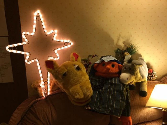 Puppets all ready for the Puppet Nativity