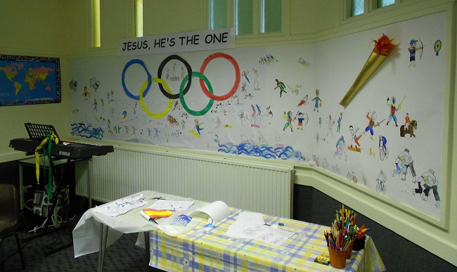 Painted olympic mural, made by the children at Holiday Club.
