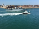 HMS Chiddingfold enter Portsmouth