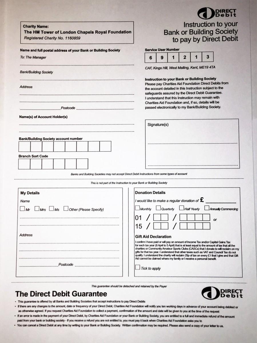 Chapels Royal H M Tower of London – Direct Debit Form