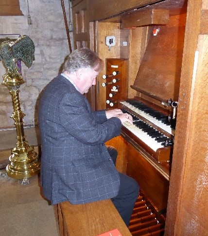David playing the organ