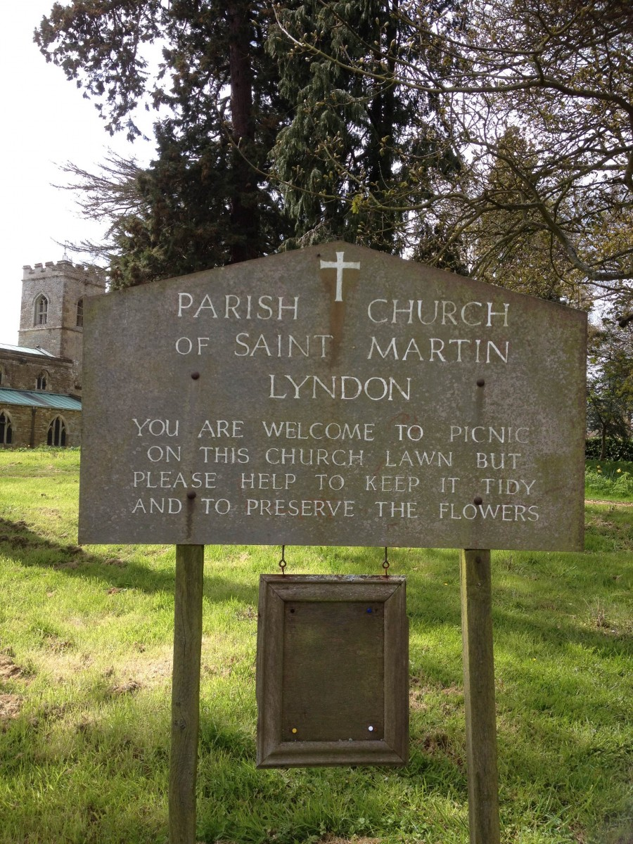 Lyndon's welcoming sign for picnics on the church lawn
