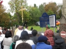 Congregation gathered to bless the new sign