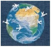 Doves around the world embroidery
