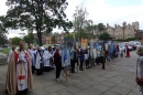 Bishop Jonathan viewed the vast array of banners outside the cathedral after the service