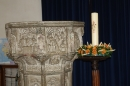 The Paschal candle decorated for Harvest
