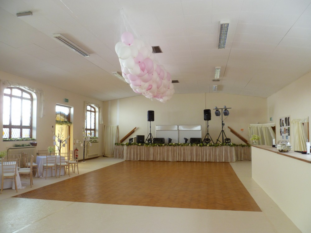 The Church Hall set up for a wedding