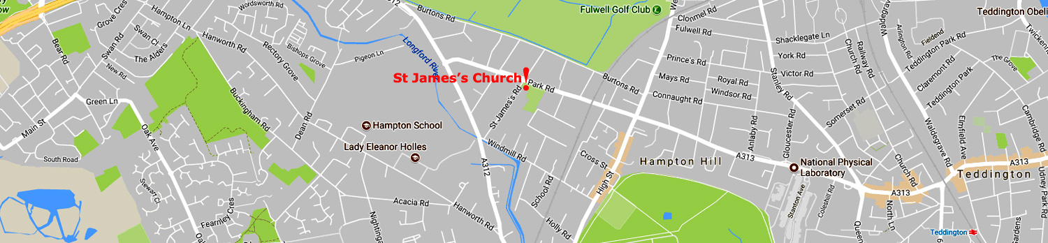 Map showing the location of St James's Church