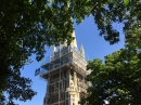 The scaffolding around the tower