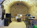 Band practice room in the crypt