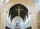 The hanging crucifix and the chancel ceiling