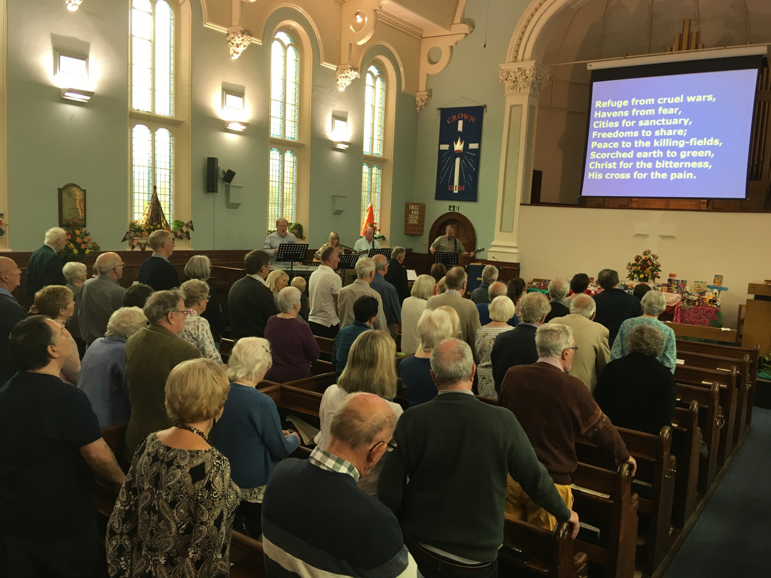 Photo of the inside of Ashbourne Methodist Church during a service