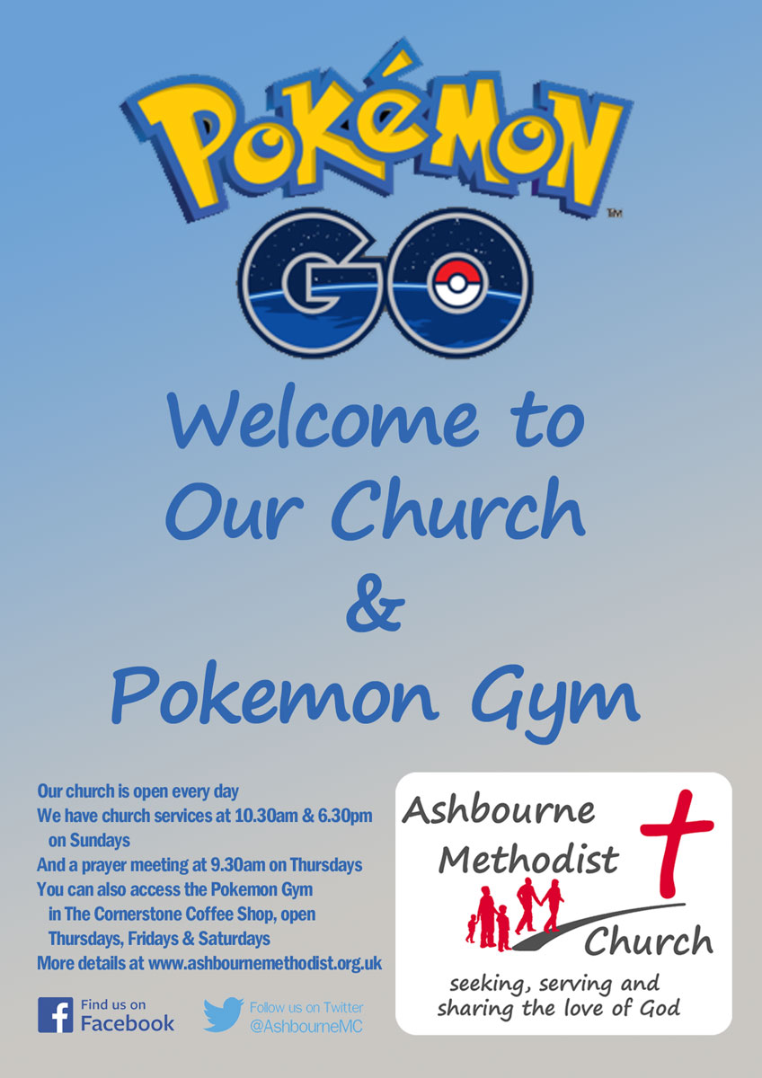 Image saying Pokemon GO - Welcome to our church and Pokemon Gym