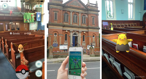 Collage of photos showing Pokemon inside Ashbourne Methodist Church, and someone playing Pokemon Go outside the church