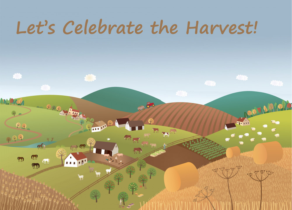 Cartoon image of a rural scene with the words Let's Celebrate the Harvest!