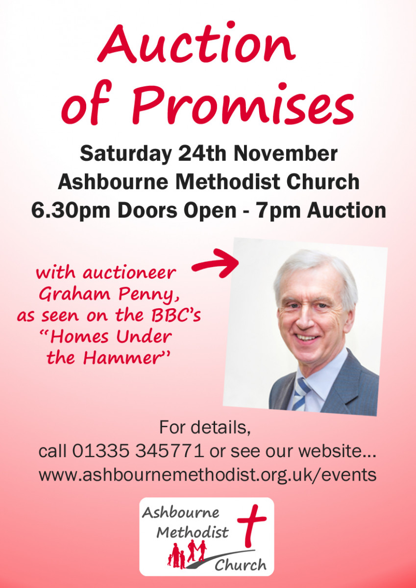 Flier with a picture of auctionneer, Graham Penny