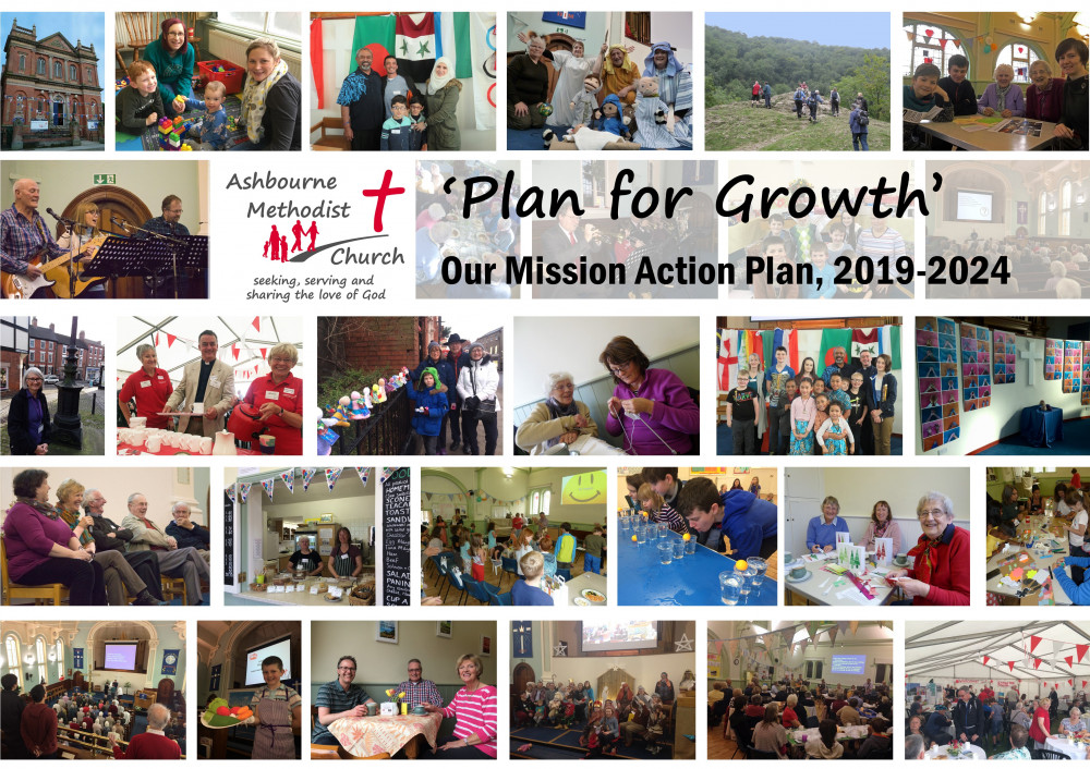 Collage of images of church activities, with text saying Plan for Growth, Our Mission Action Plan 2019-2024