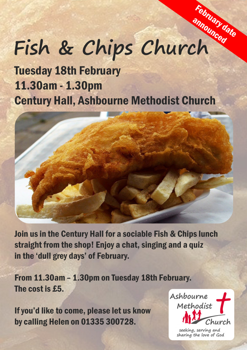 Poster for Fish & Chips Church, with picture of fish and chips. The text is the same as that contained on the web page