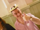 Our minister, Tim, wearing his Easter crown