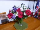 Red, white & blue floral display