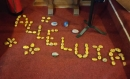 Alleluia painted on stones at St John's