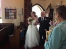 Bride and Grandfather arrive in church