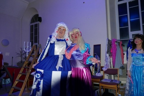 The ugly sisters backstage