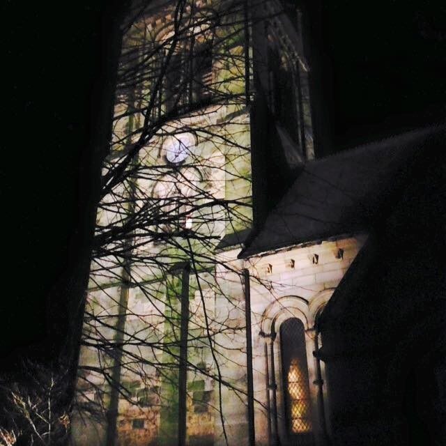 Helmsley Tower is illuminated