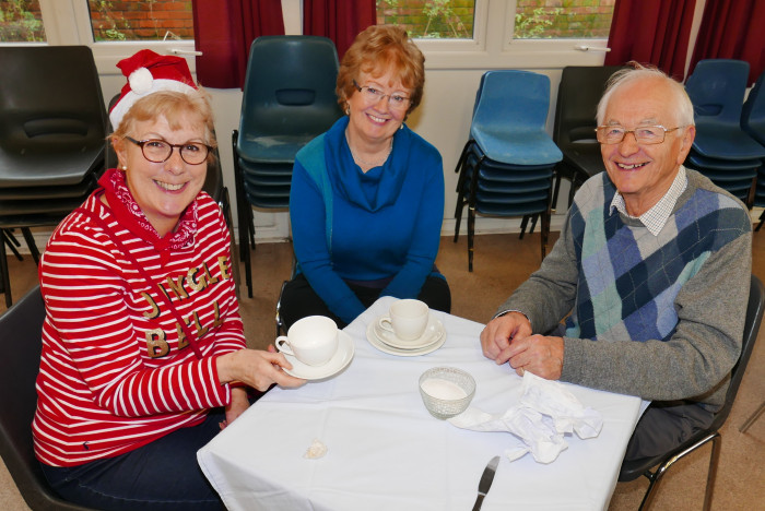 Elizabeth, Sharon and Gerald enjoying a cuppa!