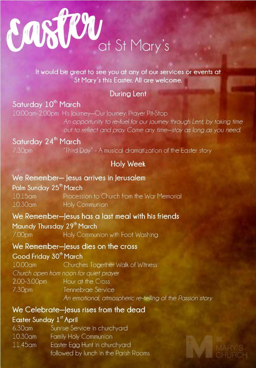 details of the easter services at St Mary's