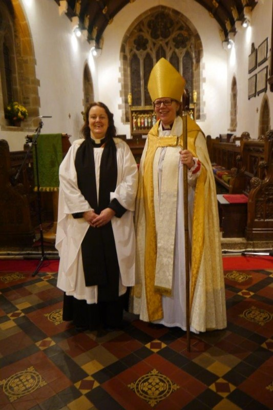 Our New Priest-in-Charge, Mother Elizabeth Burke with Bishop of Crediton, The Right Reverend Dame Sarah Mullally