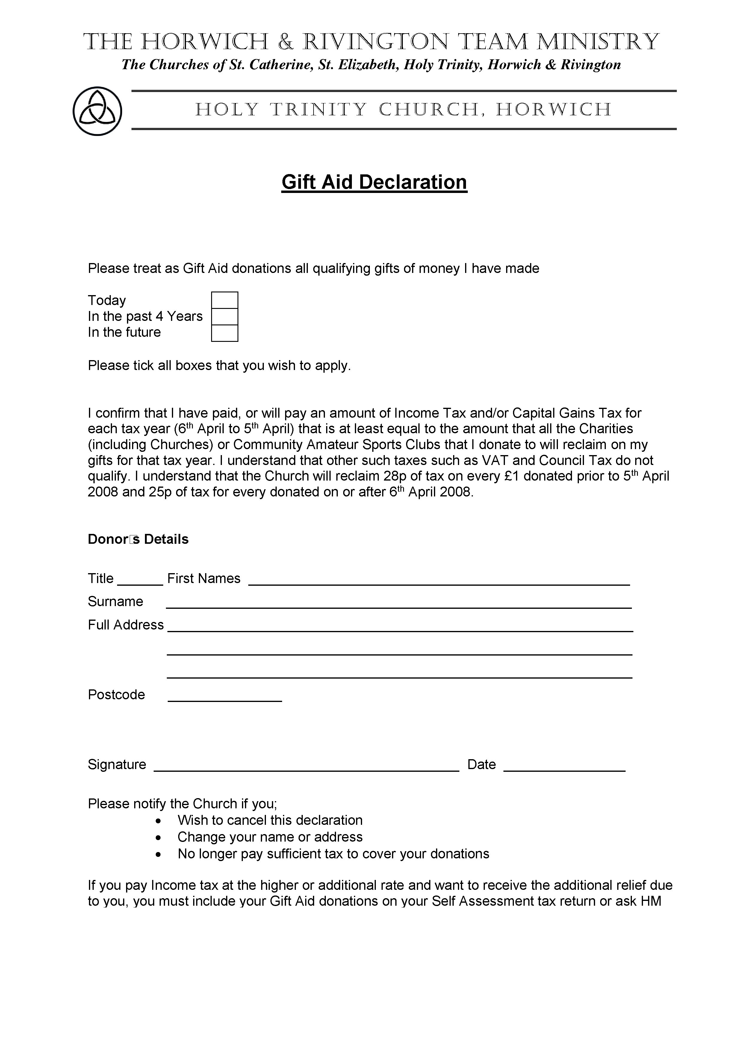 Bhrmp how you can help gift aid declaration form negle Images