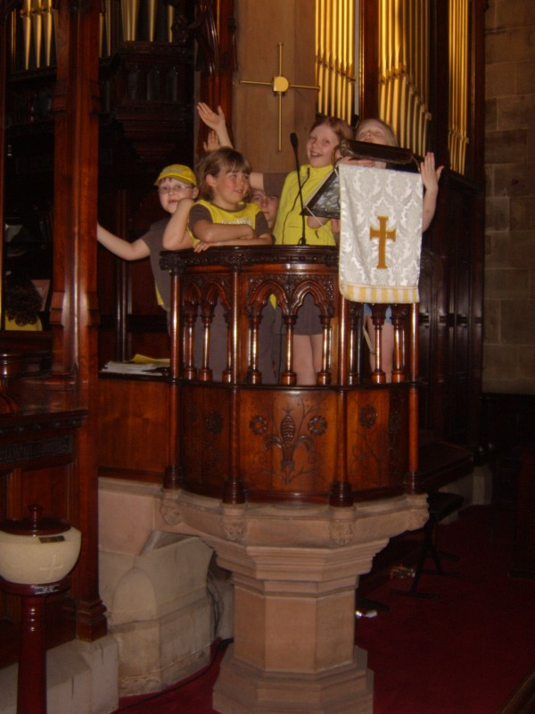 Brownies about to start the sermon in the pulpit