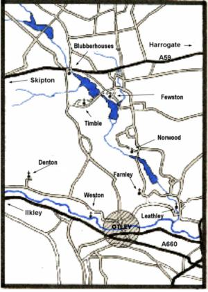Location of eight Washburn and Mid-Wharfe Churches