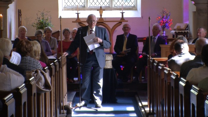 Mervyn Lister addressing the congregation in Fewston Church