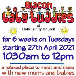 next Blacon Baby Buddies at Holy Trinity Church again for 6 weeks on Tuesdays starting 8th June 2021 10.30am to 12.00pm. A relaxed place to meet and share with new mums and babies in a friendly and caring atmosphere.