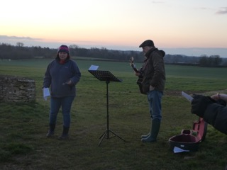 Revd David leading Easter Day Sunrise Service, Stratton