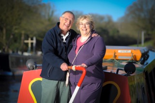 Keith and Marian on a canal boat